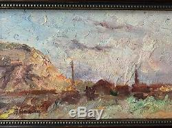 Tableau Ancien Huile sur panneau Bord de Mer EUGENE BOUDIN (1824-1898) attr
