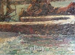 Tableau Ancien Marine Impressionniste Bateaux Jetée Huile sur Toile fin XIXe