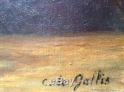 Tableau Ancien Post-Impressionniste Bouquet d'Oeillets Huile sur toile signée