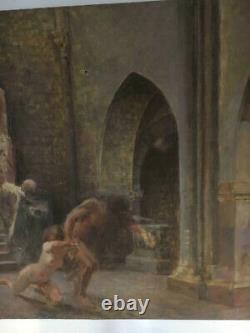 Tableau Ancien / Scene De Genre / Huile Sur Toile Grand Format / A Restaurer