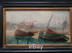 Tableau Ancien XIX ÈME Hollandaise Marine Huile Sur Toile signe Porquet 1898