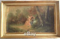 Tableau Ancien XVIIIe Scène Galante Huile sur toile signée style Antoine Watteau