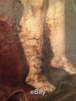 Tableau Ancien XVIIe Religieux Pieta Huile sur Toile 17ème
