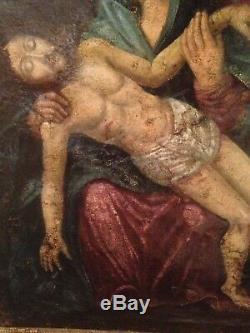 Tableau Ancien XVIIeme Religieux Pieta Huile sur Toile 17ème