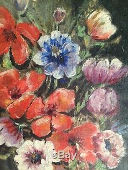 Tableau Ancien XXe Bouquet de fleurs Huile sur toile