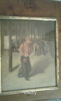 Tableau Ancien huile /gouache sur carton. Femme à la veste rose Fin 19 ème