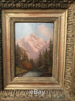 Tableau Ancien, huile sur panneau, paysage de montagne XIX ème s, signé