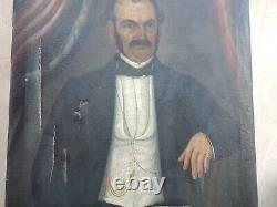 Tableau Ancien huile sur toile Portrait Homme 19 ème a restaurer