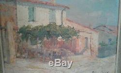 Tableau Ancien huile sur toile RUE DE SAINT TROPEZ Pierre-Paul EMIOT 19 ème