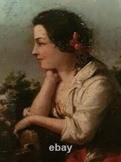 Tableau Ancien, huile sur toile XIX ème s, femme pensive