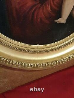 Tableau Ancien huile sur toile XIX ème s, vierge à l'enfant, cadre doré