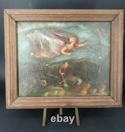 Tableau Ancien, huile sur toile, la visite de l'ange