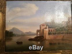 Tableau Ancien paysage huile sur toile XIX ème s, cadre Empire