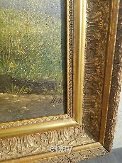 Tableau Ancien paysage huile sur toile XIX ème s signée