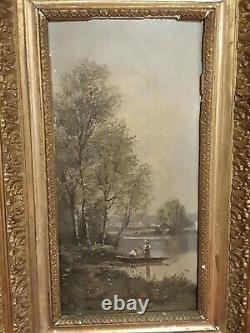 Tableau Ancien, pêcheur, huile sur panneau signée, XIX ème s
