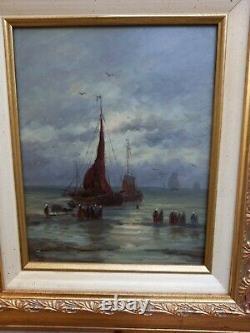 Tableau Ancien peinture huile sur panneau marine Bretagne XIXe