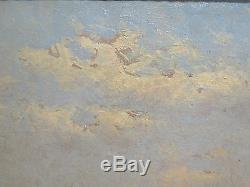 Tableau Ancienne XIX Seconde Peinture Huile sur Toile Paysage de la Danemark R93