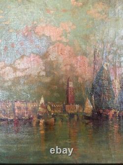 Tableau Huile Sur Toile Ancien Venise Vue Maritime Au Crepuscule