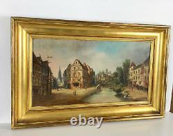 Tableau / Huile Sur Toile Ancienne Vue Sur Le Canal Du Village 65 X 35cm