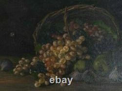 Tableau Peinture Ancienne Huile sur Toile Nature Morte, Fruits, Raisin, Figues