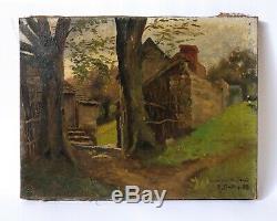 Tableau Peinture Ancienne Huile sur Toile signé XIXème Paysage, Barbizon 1880