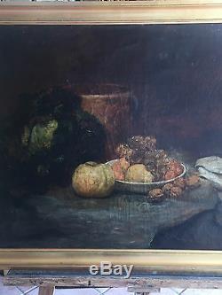 Tableau / Peinture / Huile Sur Toile Ancienne Nature Morte De 90 X 68 CM