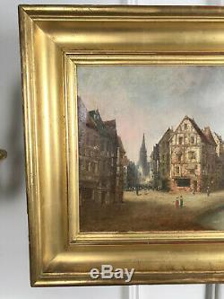 Tableau / Peinture / Huile Sur Toile Ancienne Scene Villageoise Encadré