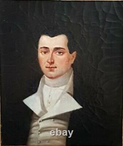Tableau Portrait D'homme Epoque Empire Huile Sur Toile Cadre Ancien