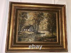 Tableau Signé Robert Mogisse Huile Sur Toile Ancien 1933 Paysage Etang Bois Rare