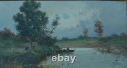 Tableau ancien19ème paysage animé personnage sur une barque paysage Normandie