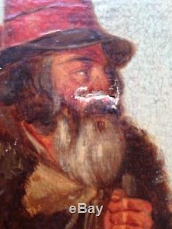 Tableau ancien 19ème Portrait de Berger Huile sur toile Alphonse DELIONS XIXe