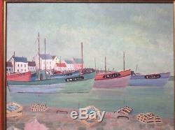 Tableau ancien Art Naïf Bateaux de pêcheurs Belle Huile sur toile signée