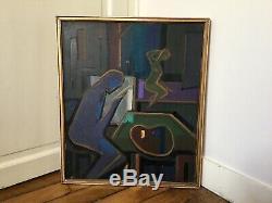 Tableau ancien Cubisme Huile Sur Toile Académie Atelier