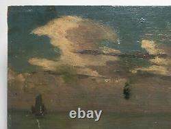 Tableau ancien, Ecole post-impressionniste, Huile sur papier, Marine, Début XXe
