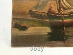Tableau ancien, Huile sur carton, Bateau à marée basse, Début XXe