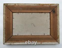 Tableau ancien, Huile sur carton Port de Rouen Monogramme, Fin XIXe-Début XXe