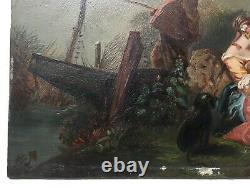 Tableau ancien, Huile sur carton, Scène bucolique, Couple, Pêcheur, Chien, XIXe