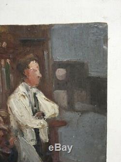 Tableau ancien, Huile sur carton dur, Ecole moderne XXe, Scène de café