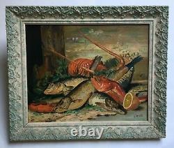 Tableau ancien, Huile sur isorel, Nature morte poissons crustacés, Encadré, XXe