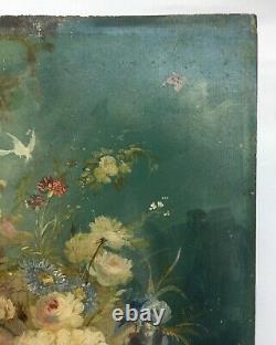 Tableau ancien, Huile sur panneau, Bouquet de fleurs et oiseaux, XIXe