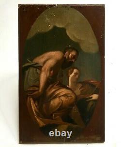 Tableau ancien, Huile sur panneau, Figures mythologiques, XIXe