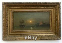 Tableau ancien, Huile sur panneau, Marine au clair de lune, XIXe