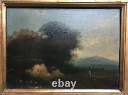 Tableau ancien, Huile sur panneau, Paysage animé, XIXe ou avant