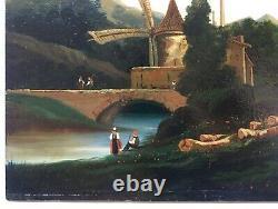 Tableau ancien, Huile sur panneau, Paysage lacustre animé, Moulin, XIXe