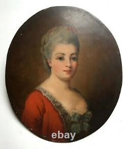 Tableau ancien, Huile sur panneau, Portrait de dame de qualité, XIXe ou avant