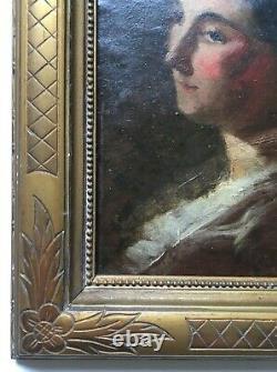 Tableau ancien, Huile sur panneau, Portrait de femme, Encadré, XIXe