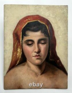 Tableau ancien, Huile sur panneau, Portrait de femme au châle rouge, Début XXe