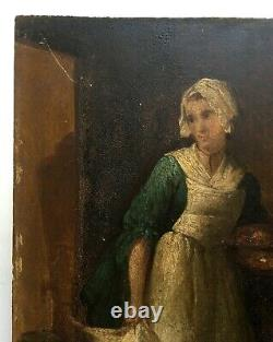 Tableau ancien, Huile sur panneau, Scène d'intérieur, La Cuisinière, XIXe