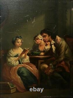Tableau ancien, Huile sur panneau, Scène d'intérieur, La lecture, XIXe