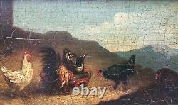 Tableau ancien, Huile sur panneau, Volatiles, Poules, Montagne, Encadré, XIXe